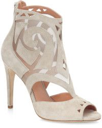 Sigerson Morrison Macee Cut Out Suede Peep Toe Ankle Boots beige - Lyst