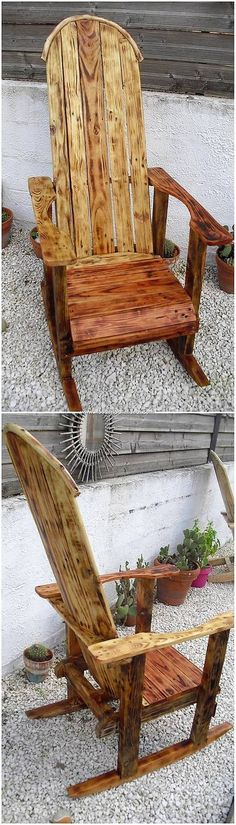 Bring home this classy wood pallet rocking chair idea right now! This wood pallet rocking chair idea Pallet Furniture Designs, Pallet Garden Furniture, Pallets Garden, Furniture Projects, Cool Furniture, Wooden Pallet Table, Pallet Boxes, Wooden Pallets, Wooden Diy
