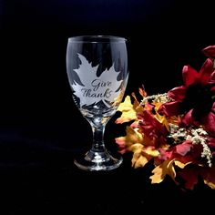 Give Thanks, Fall Leaves, Thanksgiving Goblet, Etched Glass, Octoberfest, 16 oz Glass, Thanksgiving Table Setting, Autumn by AnchorInCreativity on Etsy