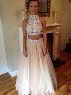 Prom Dresses,Evening Dress,Champagne Prom Dresses,2 Pieces Prom Gowns,2 piece Prom Dresses,Tulle Prom Dresses,Tulle Prom Gown,Evening Gown With Beading For Teens