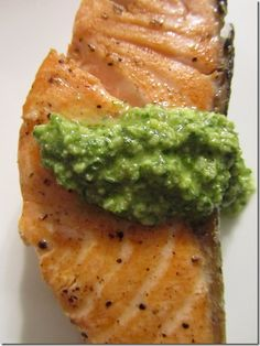 Salmon with Pumpkin Seed Pesto and Goat Cheese, Brown Butter Mash!