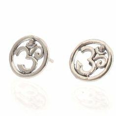 om earrings silver   Sterling Silver Post Earrings   Om / Aum