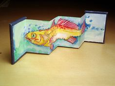 Tropical trout artists accordion book by Ruth Bleakley***TAKE 20,22X30 140lb H2OCOLOUR PAPER AND USE H2OC.,M.M. TO MAKE .....