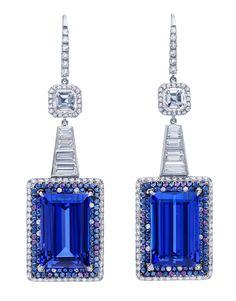Bold, dazzling blue Tanzanite baguette and diamond earrings from Martin Katz.♥•♥•♥