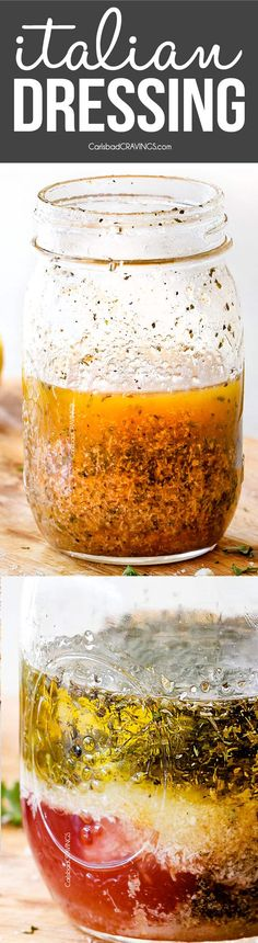his Homemade Italian Dressing is quick and easy to make better than store bought andelevates and enlivens everything it touches from salads to vegetables and makes an excellent marinade for chicken fish pork and steak! via Carlsbad Cravings Italian Dressing Recipes, Homemade Italian Dressing, Salad Dressing Recipes, Salad Dressings, Vinaigrette Dressing, Easy Salad Recipes, Easy Salads, Salad Bar, Soup And Salad