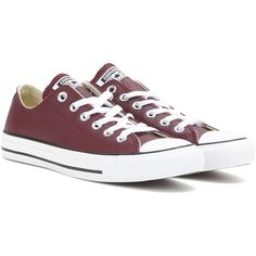 Converse Chuck Taylor All Star Leather Sneakers ($86) ❤ liked on Polyvore featuring shoes, sneakers, converse, flats, zapatos, red, red shoes, red flat shoes, converse sneakers and star sneakers