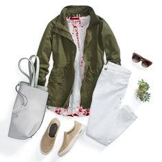 How to Wear Fashion Sneakers - Classic outfit for running errands! White jeans, olive cargo jacket and tote bag. Stitch Fix Blog, Stitch Fix Stylist, Stitch Fit, Look Fashion, Womens Fashion, Fashion Tips, Lolita Fashion, Fall Fashion, Fashion Trends