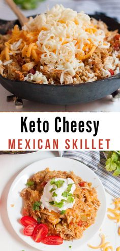 Make our Keto Cheesy Mexican Skillet Chicken as a great family-friendly low carb recipe that comes together in minutes It s so easy delicious and kid-friendly keto lowcarb Mexican Food Recipes, Diet Recipes, Chicken Recipes, Healthy Recipes, Lunch Recipes, Ethnic Recipes, Low Carb Mexican Food, Breakfast Recipes, Lunch Meals
