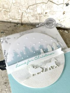 by Kimberly: Jingle All The Way, Holidays Fancy Foil Vellum, Sleigh Ride Edgelits, Softly Falling embossing folder - all from Stampin' Up! Christmas Paper Crafts, Homemade Christmas Cards, Stampin Up Christmas, Christmas Cards To Make, Noel Christmas, Xmas Cards, Homemade Cards, Holiday Cards, Envelopes