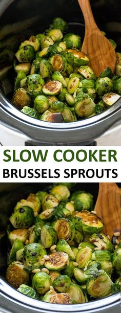 Vegan without the parmesan Super Easy Slow Cooker Balsamic Brussels Sprouts. Vegan without the parmesan Vegan Crockpot Recipes, Slow Cooker Recipes, Cooking Recipes, Crockpot Veggies, Thanksgiving Recipes Crockpot, Crockpot Side Dishes, Crockpot Ideas, Christmas Dinner Recipes Slow Cooker, Easy Side Dishes