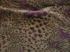 Wolle, Polyester, Strick, Leopardenmuster, Grau, Lila, Kleiderstoff, Jackenstoff