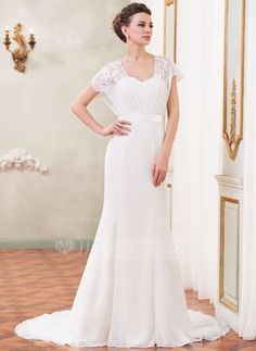 Wedding Dresses - $179.99 - Trumpet/Mermaid Sweetheart Court Train Chiffon Charmeuse Lace Wedding Dress With Beading Sequins Bow(s) (002052652) http://jjshouse.com/Trumpet-Mermaid-Sweetheart-Court-Train-Chiffon-Charmeuse-Lace-Wedding-Dress-With-Beading-Sequins-Bow-S-002052652-g52652