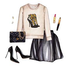 Printed sweatshirt, black skirt, black heels, black chain bag