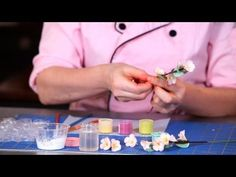 How to Make Sugar Flowers: Cherry Blossom, Part 2 Easy Cake Decorating, Cake Decorating Techniques, Cake Decorating Tutorials, Fondant Rose, Fondant Flowers, Sugar Flowers, Fondant Flower Tutorial, Cherry Blossom Cake, Wedding Cakes With Flowers
