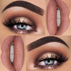 This make-up look is beautiful. - Make Up Tips & How to 2019 Trends - Eye Makeup Neutral Smokey Eye, Smokey Eye Makeup, Skin Makeup, Eyeshadow Makeup, Eyeliner, Neutral Eye Makeup, Smokey Eye With Gold, Eyebrows, Drugstore Makeup