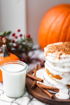 Pumpkin Pancakes with Cream Cheese Syrup — Treasures & Travels