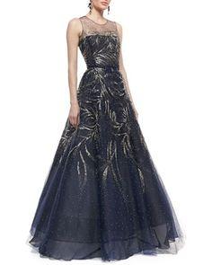 Sleeveless Embellished Ball Gown by Oscar de la Renta at Bergdorf Goodman.