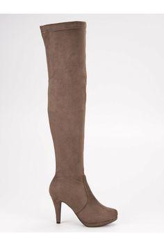 Béžové platformové čižmy nad koleno Super Me Heeled Boots, Platform, Heels, Sexy, Fashion, High Heel Boots, Fashion Styles, Boots, Shoes Heels