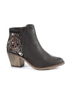 Black (Black) Black Leather Skull Ankle Boots | 256939001 | New Look