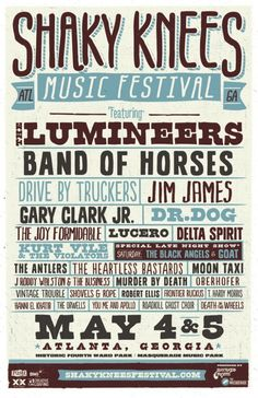 I like the use of different fonts to creates variety and separation for each band name. The viewer can easily tell that there are multiple bands playing at this festival.