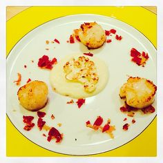 Gebakken coquilles met bloemkool mousseline en pancetta kruim