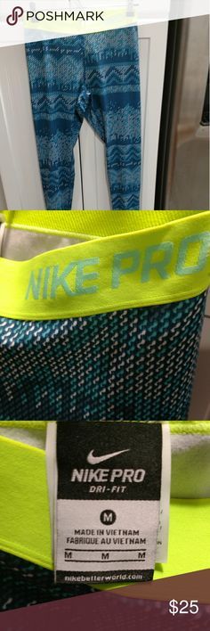 Fun print nike pro leggings Fun print Nike pro leggings only worn once and in excellent condition Nike Pants Leggings