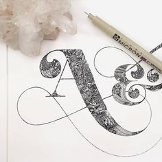 Beautiful details in this work Calligraphy Letters, Typography Letters, Graphic Design Typography, Lettering Design, Calligraphy Handwriting, Caligraphy, Hand Drawn Typography, Flourish Calligraphy, Font Alphabet