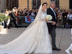 Princess Claire of Luxembourg wore a wedding gown by designer Elie Saab.