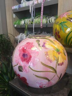 Art Object, Tea Pots, Glass Art, Christmas Bulbs, Globe, Objects, Porcelain, Chandelier, Hand Painted