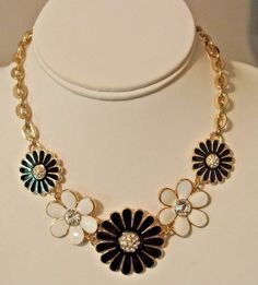 Long Enamel Style Daisy Marine Sea Flower Fashion Necklace