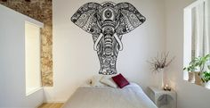 Mur chambre Decor Art Vinyl Sticker autocollant Mural modèle affiche Design Mandala intérieur Elephant Inde Afrique animaux Mehendi ornemental FI806