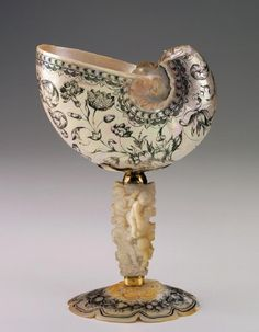 Cornelis van Bellekin Dutch circa 1625 - before 1701 Nautilus Shell Cup second half of the Century Nautilus Pompilus shell, large marine oyster shell, ink, and brass Shell Decorations, Shell Collection, Nautilus Shell, Vases, Seashell Art, Bronze, Objet D'art, Sculpture, Or Antique