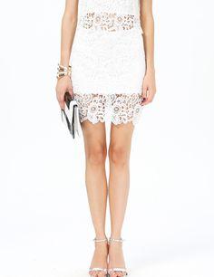 blanco Floral Crochet Lace Bodycon falda 8.57