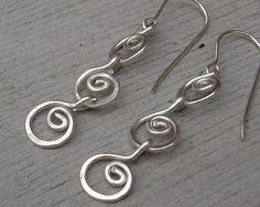 Fun swingy dangle chain earrings-  Sterling Silver Dangle Earrings Three Little by nicholasandfelice, $ 22.00