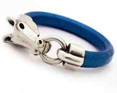 Metallic Blue Leather Bracelet for Women  Gift for by JulesAtNine