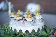Red Velvet cupcakes with Cream Cheese frosting topped with Gold Cherries #comixingbowl #cherries #bridalshower