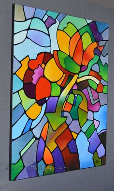 Geometric floral original painting MOSAIC by SallyTraceFineArt