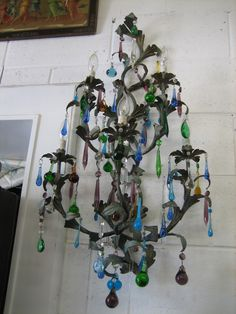 Blue & green crystal sconce