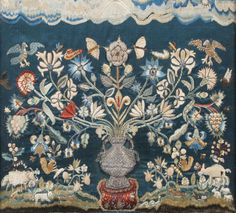 A mid-17th century embroidered and stumpwork panel