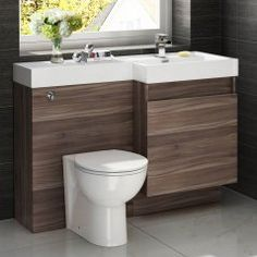 Atlanta Walnut Combined Suite with Toilet and Basin - 1206x880mm
