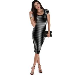 Stripe Faithful Black Midi Dress