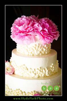 Check out the big pink peonies on this cake at this wedding at Austin Wedding Venue, Laguna Gloria Art Museum. Photo by Austin Wedding Photographers, Hyde Park Photography. http://www.HydeParkPhoto.com