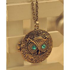 Golden Vintage Round Owl Necklace ($9.90) ❤ liked on Polyvore