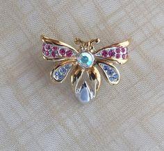 antique bee jewelry | Vintage Bee Rhinestone Brooch Bee Jewelry by arepaki on Etsy