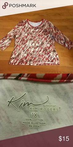 Gorgeous Little Top by Kim Rogers Size 1X and 3/4 length sleeves in red, black, and tan. See pics for details and material info Kim Rogers Tops