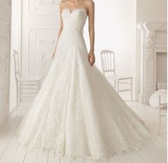 Elegant lace wedding dress Aline bridal gown train by Swarovski169, $189.00