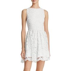 Alice + Olivia Ginger Lace Dress - 100% Bloomingdale's Exclusive ($420) ❤ liked on Polyvore featuring dresses, off white, champagne cocktail dress, vintage white dress, lacy dress, vintage white lace dress and off white dress