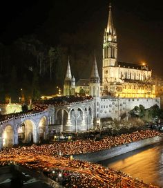 Candlelight Procession  in Lourdes, France