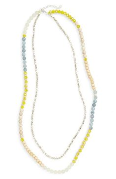 Panacea Yellow Quartz & Shell Beaded Necklace available at #Nordstrom