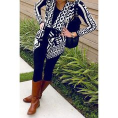 Casual Color Block Printed Turn-Down Collar Knitted Cardigan For Women - White And Black M